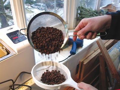 Die selbstgerösteten Kaffeebohnen werden abgekühlt
